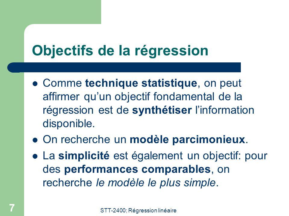 STT-2400; Régression linéaire 7 Objectifs de la régression  Comme technique statistique, on peut affirmer qu'un objectif fondamental de la régression