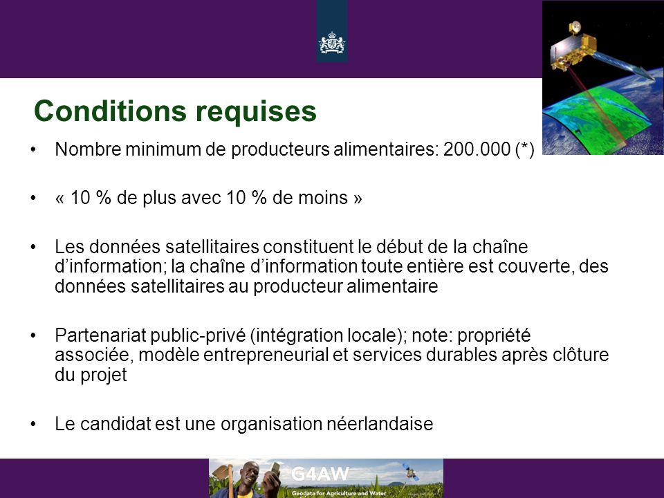 Conditions requises •Nombre minimum de producteurs alimentaires: 200.000 (*) •« 10 % de plus avec 10 % de moins » •Les données satellitaires constitue