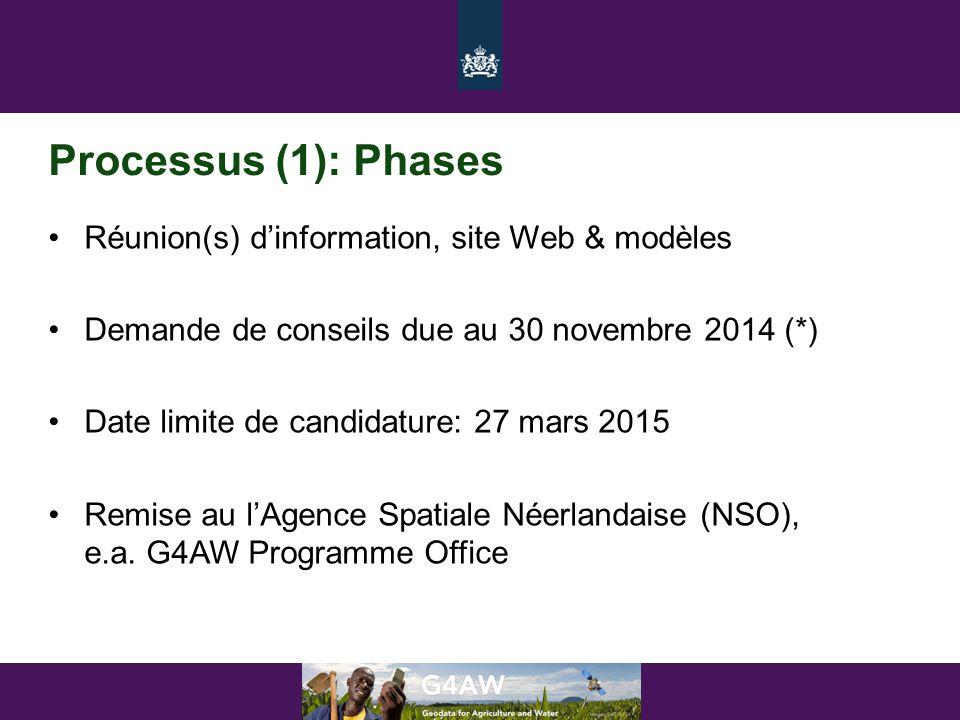 Processus (1): Phases •Réunion(s) d'information, site Web & modèles •Demande de conseils due au 30 novembre 2014 (*) •Date limite de candidature: 27 m