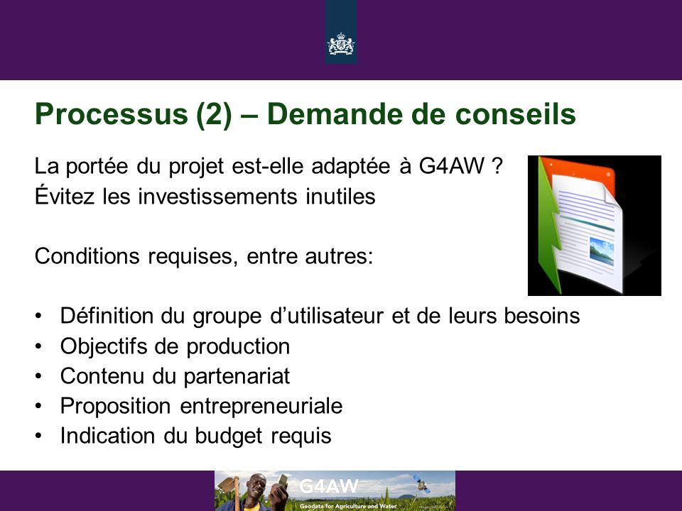 Processus (2) – Demande de conseils La portée du projet est-elle adaptée à G4AW ? Évitez les investissements inutiles Conditions requises, entre autre