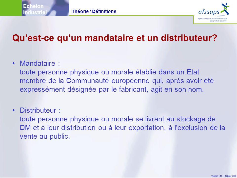Version 1.01 – Octobre 2005 •Mandataire : toute personne physique ou morale établie dans un État membre de la Communauté européenne qui, après avoir été expressément désignée par le fabricant, agit en son nom.