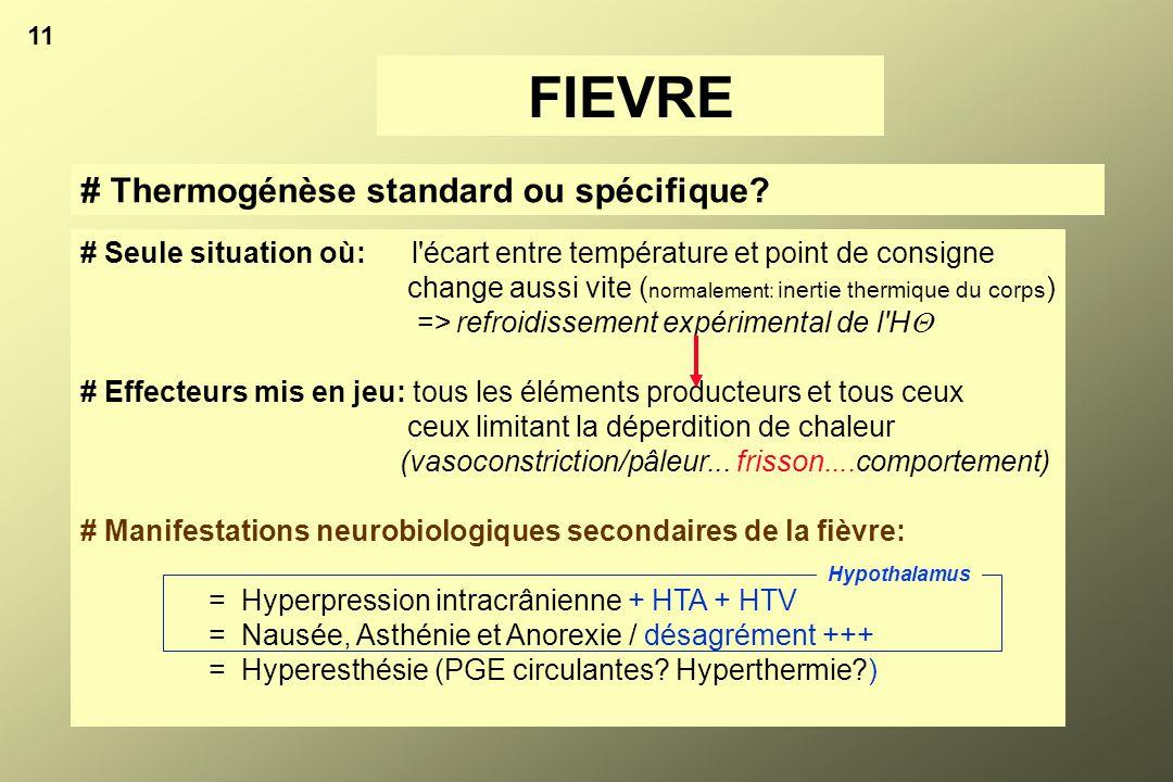11 # Thermogénèse standard ou spécifique? FIEVRE # Seule situation où: l'écart entre température et point de consigne change aussi vite ( normalement: