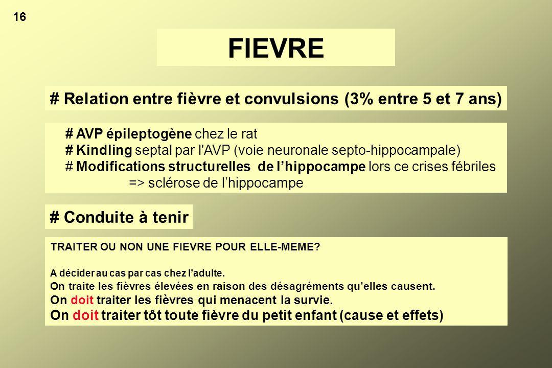 16 FIEVRE # Relation entre fièvre et convulsions (3% entre 5 et 7 ans) # AVP épileptogène chez le rat # Kindling septal par l'AVP (voie neuronale sept