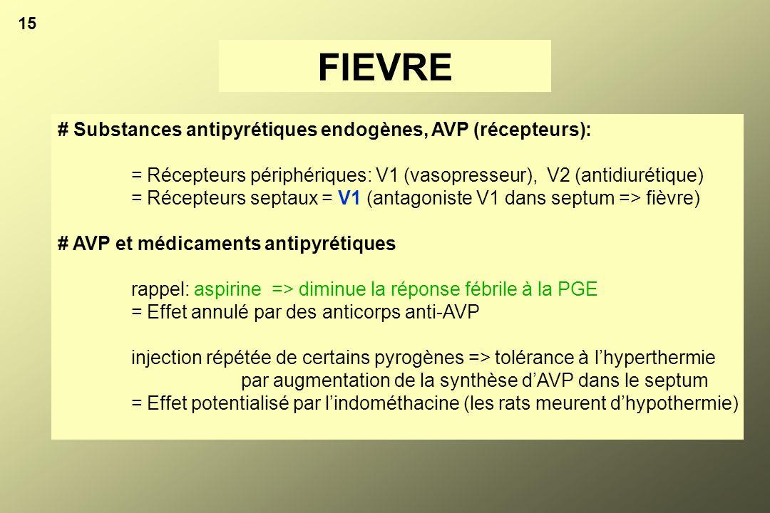 # Substances antipyrétiques endogènes, AVP (récepteurs): = Récepteurs périphériques: V1 (vasopresseur), V2 (antidiurétique) = Récepteurs septaux = V1