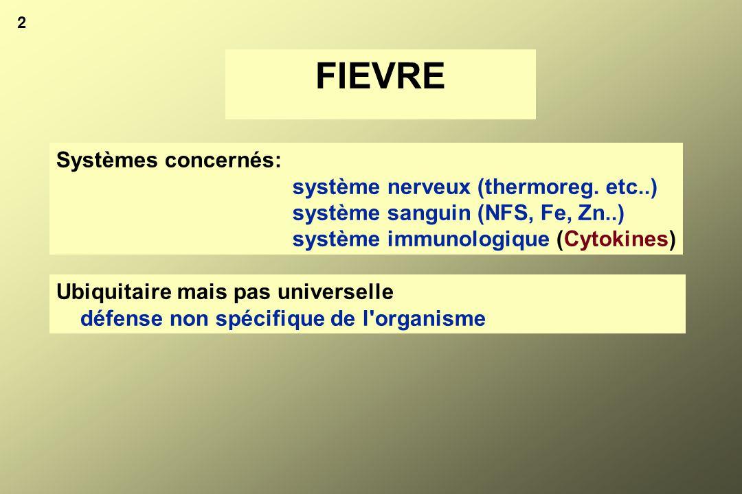 2 FIEVRE Ubiquitaire mais pas universelle défense non spécifique de l'organisme Systèmes concernés: système nerveux (thermoreg. etc..) système sanguin