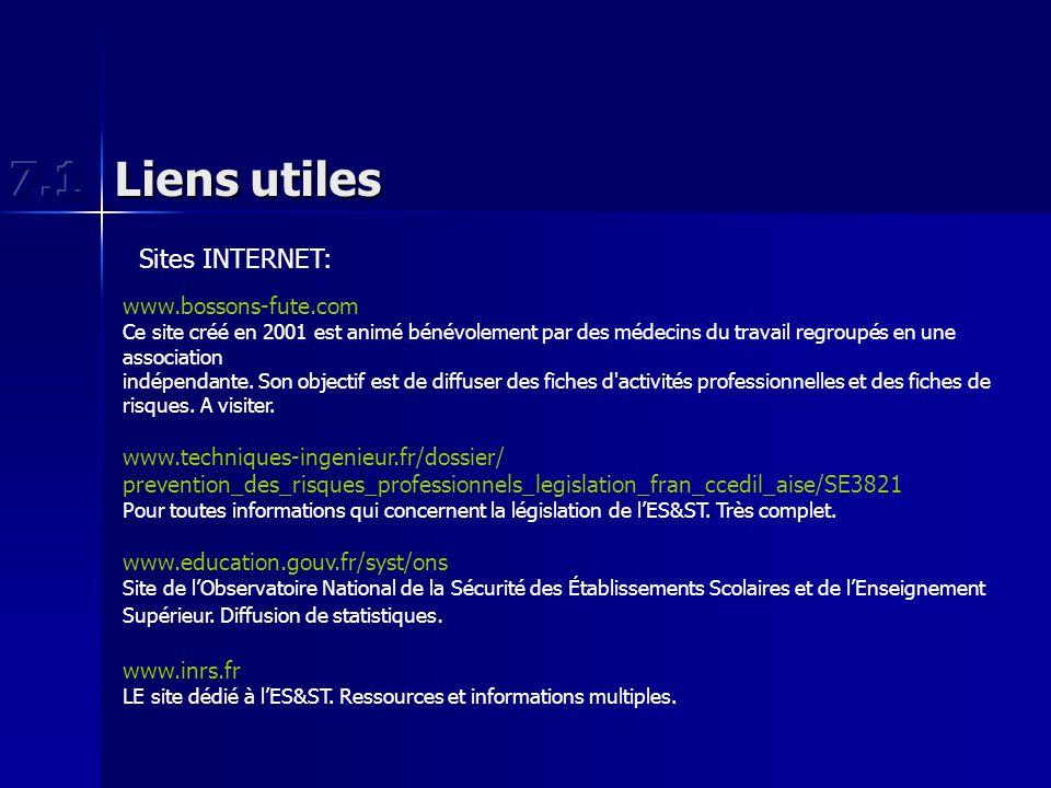 Liens utiles Sites INTERNET: www.bossons-fute.com Ce site créé en 2001 est animé bénévolement par des médecins du travail regroupés en une association