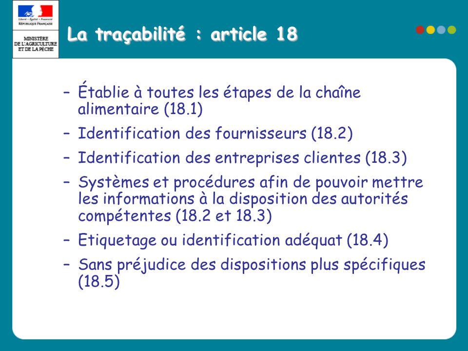 La traçabilité : article 18 –Établie à toutes les étapes de la chaîne alimentaire (18.1) –Identification des fournisseurs (18.2) –Identification des e