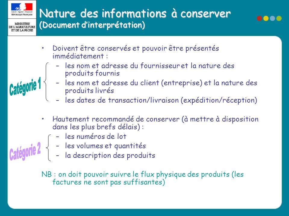 Nature des informations à conserver (Document d'interprétation) •Doivent être conservés et pouvoir être présentés immédiatement : –les nom et adresse
