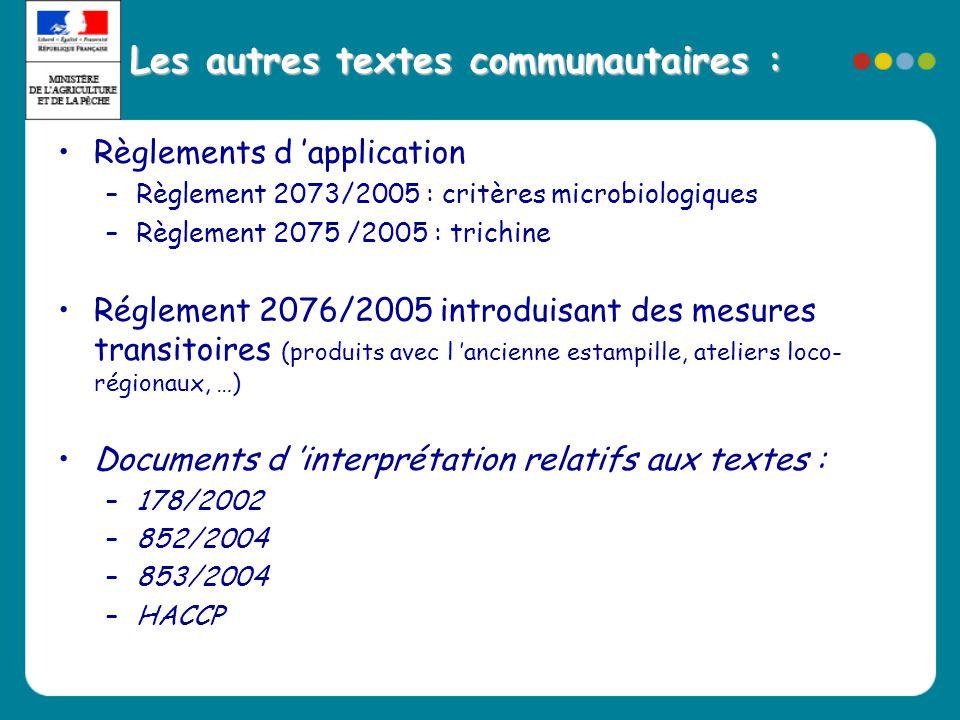 Les autres textes communautaires : •Règlements d 'application –Règlement 2073/2005 : critères microbiologiques –Règlement 2075 /2005 : trichine •Régle