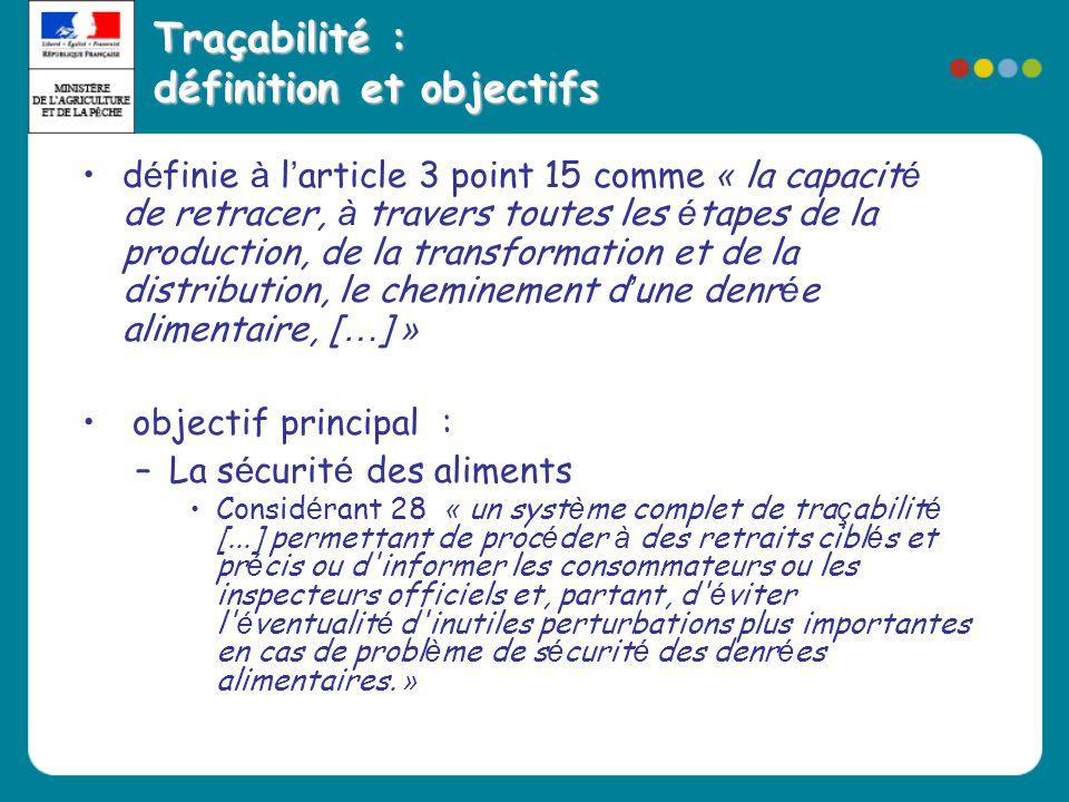 Traçabilité : définition et objectifs •d é finie à l ' article 3 point 15 comme « la capacit é de retracer, à travers toutes les é tapes de la product