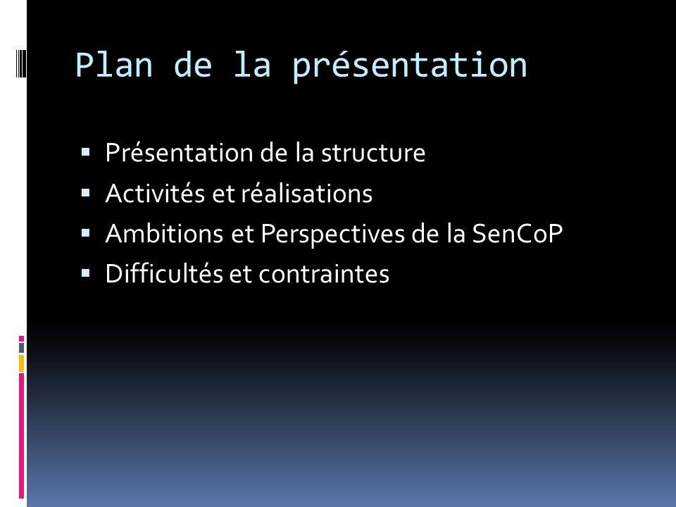 ACTIVITES ET REALISATIONS  Préparation d'un projet de plan d'actions  Participation au Cap Scan Sénégal  Revues conjointes DSRP  Ateliers de formation CDSMT