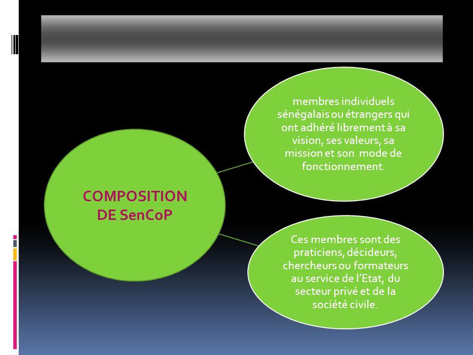  Le Comité directeur de SenCop :  chargé de la gestion de SenCoP pour la durée d'un mandat.
