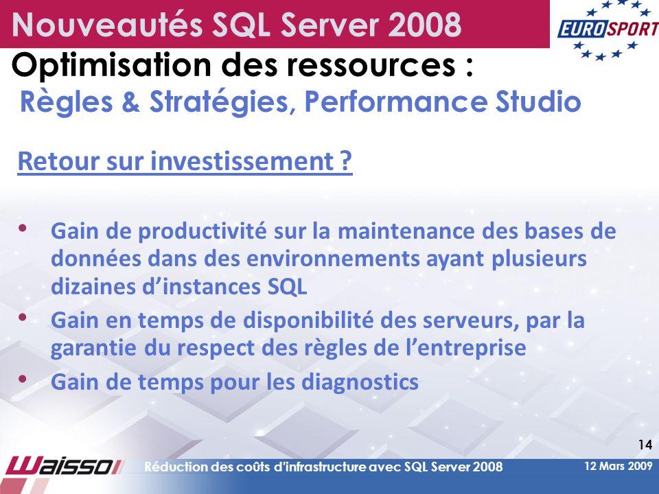12 Mars 2009 Réduction des coûts d infrastructure avec SQL Server 2008 14 Retour sur investissement .