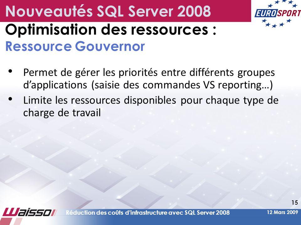 12 Mars 2009 Réduction des coûts d infrastructure avec SQL Server 2008 15 • Permet de gérer les priorités entre différents groupes d'applications (saisie des commandes VS reporting…) • Limite les ressources disponibles pour chaque type de charge de travail Nouveautés SQL Server 2008 Optimisation des ressources : Ressource Gouvernor