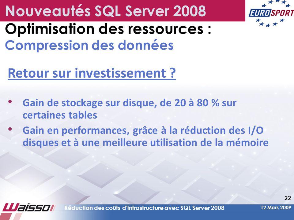 12 Mars 2009 Réduction des coûts d infrastructure avec SQL Server 2008 22 Retour sur investissement .
