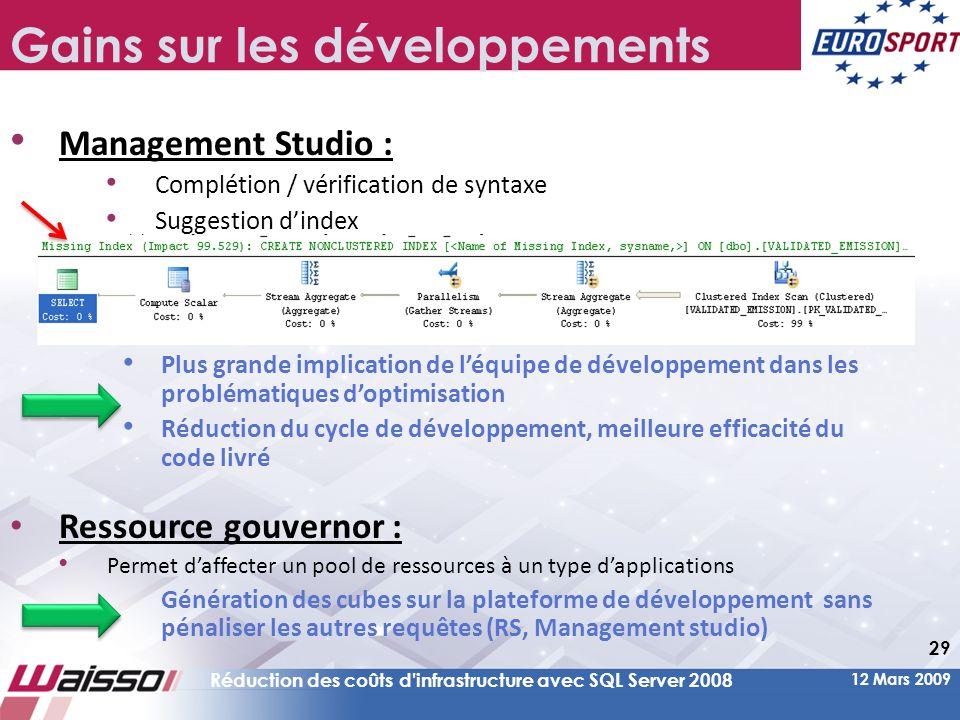 12 Mars 2009 Réduction des coûts d infrastructure avec SQL Server 2008 29 Gains sur les développements • Management Studio : • Complétion / vérification de syntaxe • Suggestion d'index • Plus grande implication de l'équipe de développement dans les problématiques d'optimisation • Réduction du cycle de développement, meilleure efficacité du code livré • Ressource gouvernor : • Permet d'affecter un pool de ressources à un type d'applications Génération des cubes sur la plateforme de développement sans pénaliser les autres requêtes (RS, Management studio)