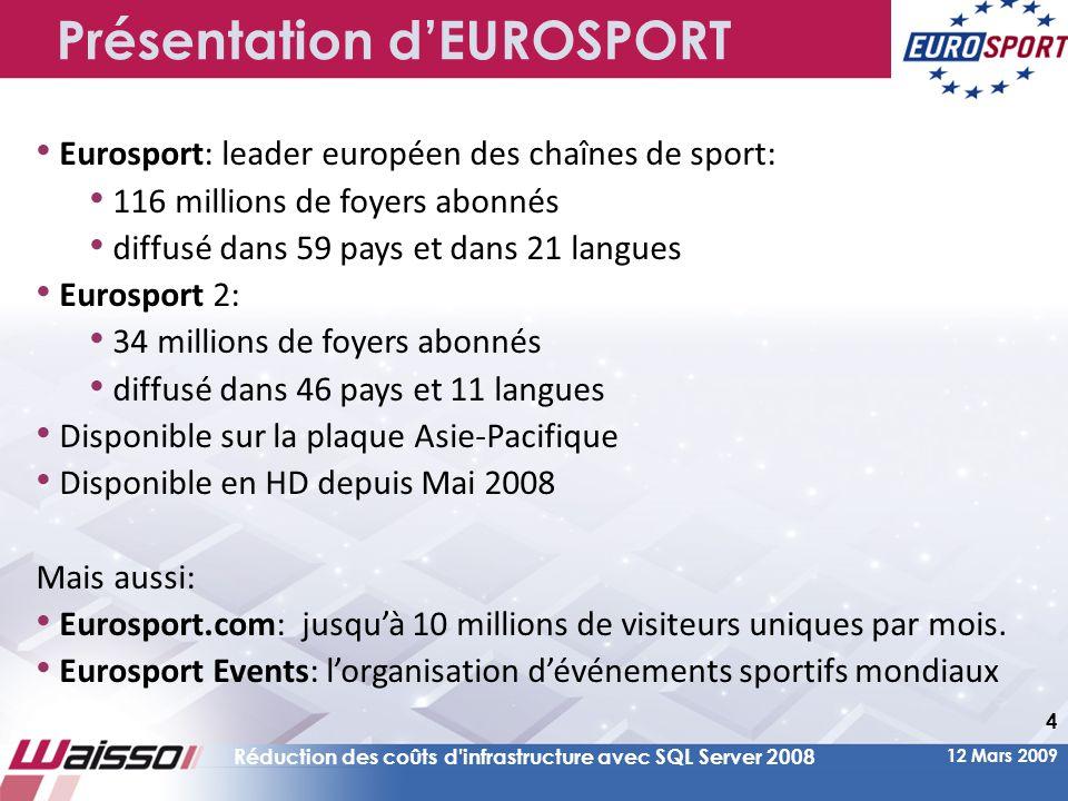 12 Mars 2009 Réduction des coûts d infrastructure avec SQL Server 2008 4 Présentation d'EUROSPORT • Eurosport: leader européen des chaînes de sport: • 116 millions de foyers abonnés • diffusé dans 59 pays et dans 21 langues • Eurosport 2: • 34 millions de foyers abonnés • diffusé dans 46 pays et 11 langues • Disponible sur la plaque Asie-Pacifique • Disponible en HD depuis Mai 2008 Mais aussi: • Eurosport.com: jusqu'à 10 millions de visiteurs uniques par mois.