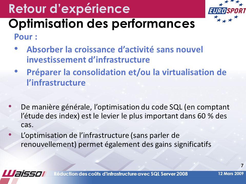 12 Mars 2009 Réduction des coûts d infrastructure avec SQL Server 2008 28 Agenda Préambule : –L'optimisation des performances facteur clé dans la réduction des coûts Nouveautés SQL Server 2008 au service de la réduction des coûts d'infrastructure : –Par l'optimisation de la maintenance (Règles & Policies, Performance Studio) –Par une meilleure utilisation de l'infrastructure (Ressource Governor, Compression) > Retour d'expérience EUROSPORT : –Gains sur l'infrastructure (Virtualisation, gestion par stratégie, compression) –Gains sur les développements (Nouveaux outils, nouvelles fonctionnalités) – Gains sur le décisionnel (Performance, autonomie des utilisateurs sur la création de rapports) –Sur le passage SQL Server 2000 à SQL Server 2008