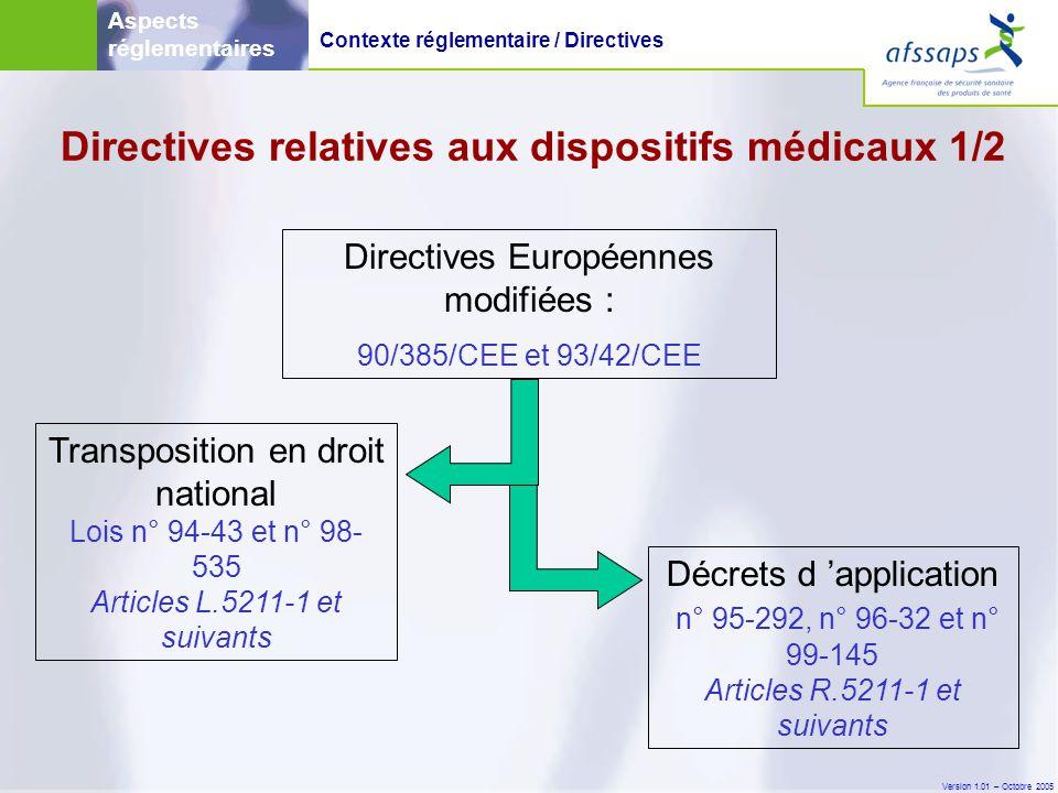 Version 1.01 – Octobre 2005 Directives Européennes modifiées : 90/385/CEE et 93/42/CEE Transposition en droit national Lois n° 94-43 et n° 98- 535 Articles L.5211-1 et suivants Décrets d 'application n° 95-292, n° 96-32 et n° 99-145 Articles R.5211-1 et suivants Aspects réglementaires Directives relatives aux dispositifs médicaux 1/2 Contexte réglementaire / Directives