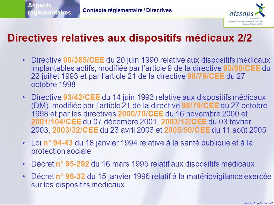 Version 1.01 – Octobre 2005 Guides d'application des directives (MEDDEV) 1/2 • Constituent des lignes directrices pour l application des directives européennes.