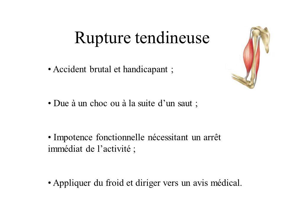 Accident des tendons Les Tendinites • Inflammation d'un tendon d'un muscle ; • Probablement due à l'accumulation de (cristaux)…d' acide urique ; • Due