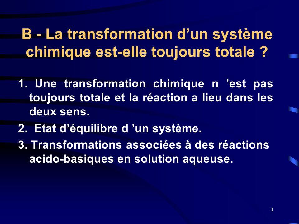1 B - La transformation d'un système chimique est-elle toujours totale ? 1. Une transformation chimique n 'est pas toujours totale et la réaction a li