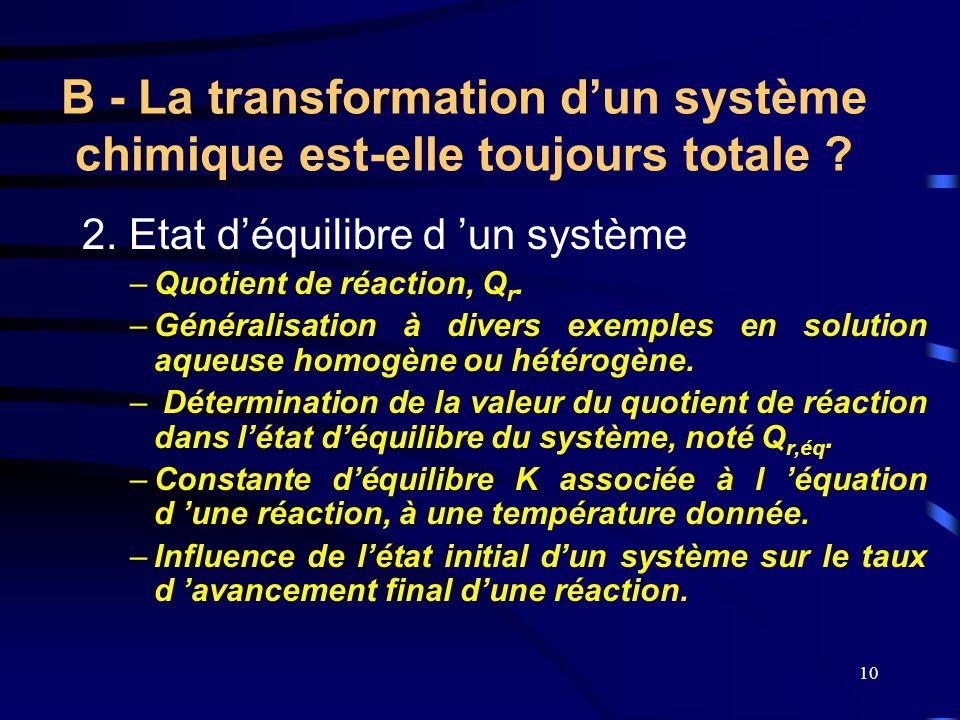 10 2. Etat d'équilibre d 'un système –Quotient de réaction, Qr.Qr. –Généralisation à divers exemples en solution aqueuse homogène ou hétérogène. – Dét