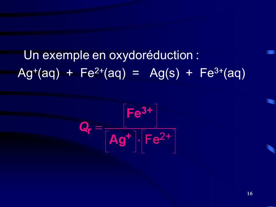 16 Un exemple en oxydoréduction : Ag + (aq) + Fe 2+ (aq) = Ag(s) + Fe 3+ (aq)