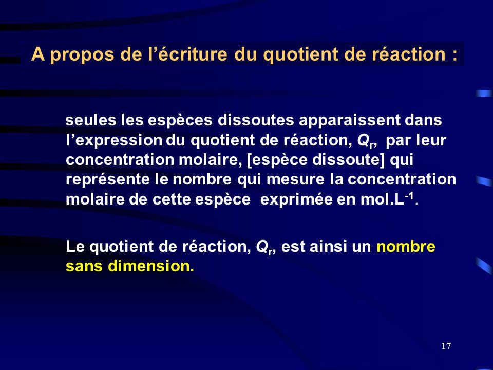 17 seules les espèces dissoutes apparaissent dans l'expression du quotient de réaction, Q r, par leur concentration molaire, [espèce dissoute] qui rep