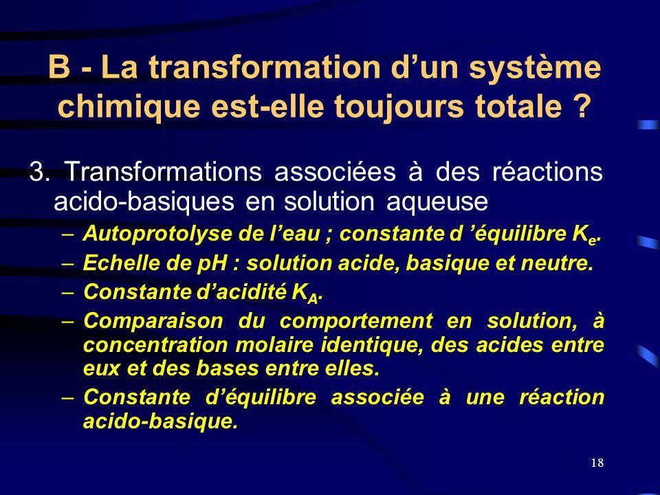 18 3. Transformations associées à des réactions acido-basiques en solution aqueuse –A–Autoprotolyse de l'eau ; constante d 'équilibre K e. –E–Echelle