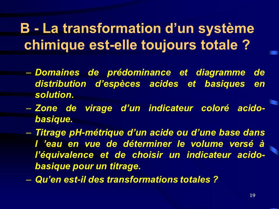 19 B - La transformation d'un système chimique est-elle toujours totale ? –D–Domaines de prédominance et diagramme de distribution d'espèces acides et