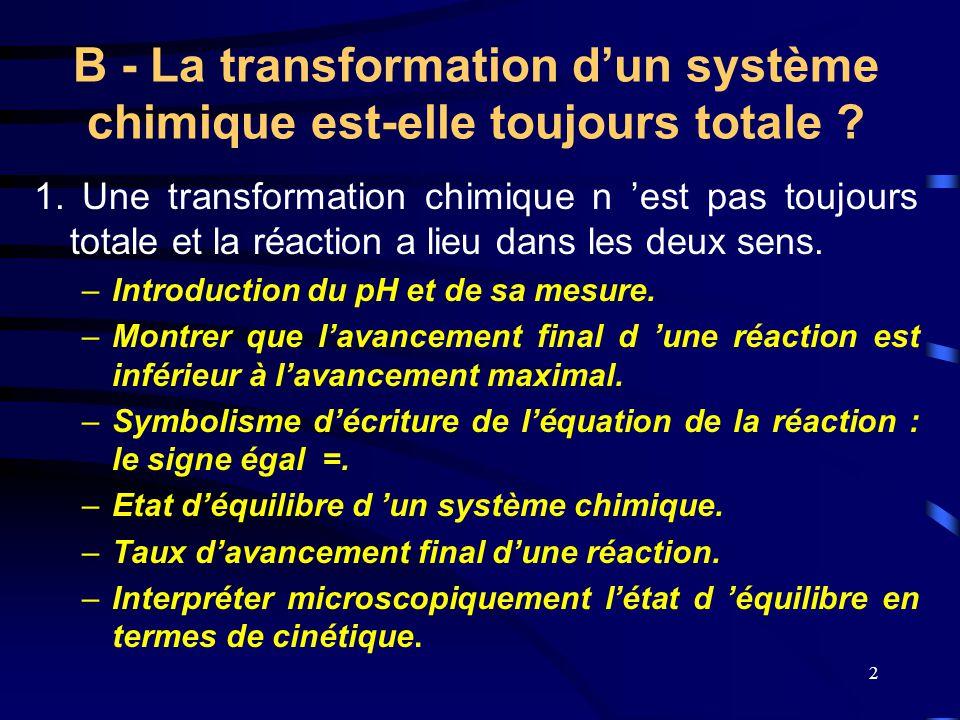 2 B - La transformation d'un système chimique est-elle toujours totale ? 1. Une transformation chimique n 'est pas toujours totale et la réaction a li
