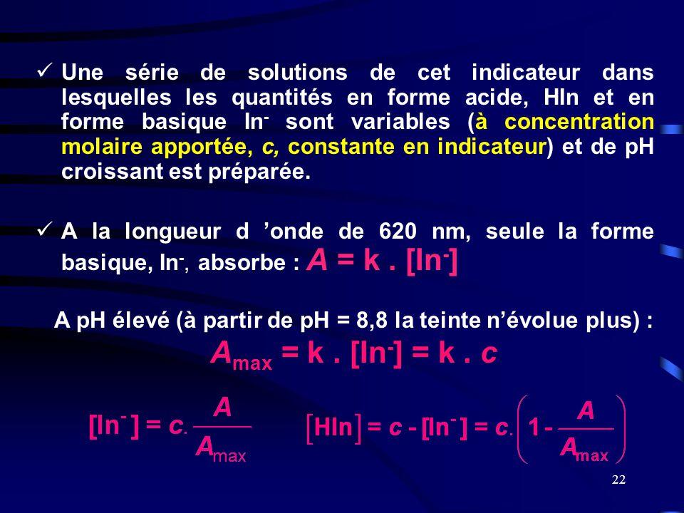 22  Une série de solutions de cet indicateur dans lesquelles les quantités en forme acide, HIn et en forme basique In - sont variables (à concentrati