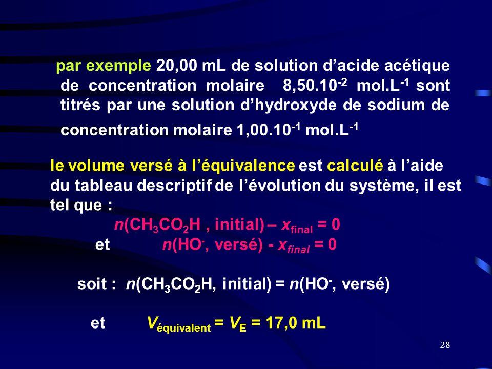 28 par exemple 20,00 mL de solution d'acide acétique de concentration molaire 8,50.10 -2 mol.L -1 sont titrés par une solution d'hydroxyde de sodium d