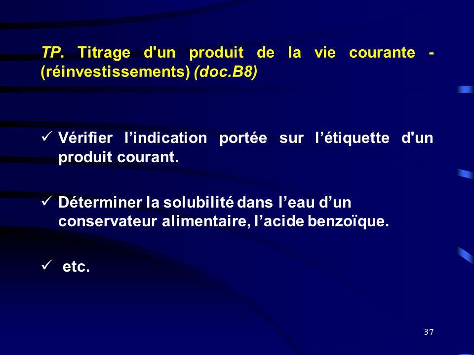 37 TP. Titrage d'un produit de la vie courante - (réinvestissements) (doc.B8)  Vérifier l'indication portée sur l'étiquette d'un produit courant.  D