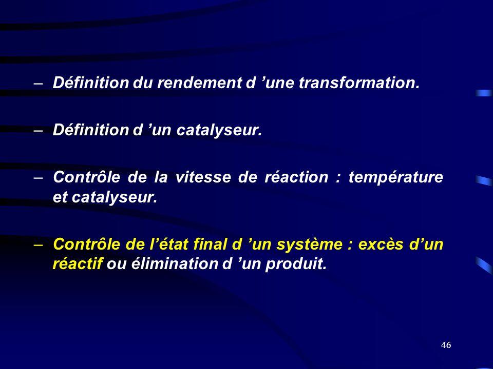 46 –Définition du rendement d 'une transformation. –Définition d 'un catalyseur. –Contrôle de la vitesse de réaction : température et catalyseur. –Con