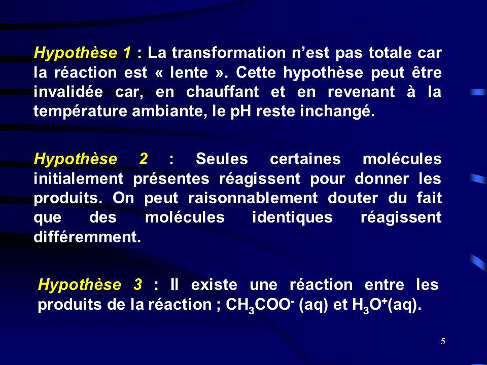 5 Hypothèse 1 : La transformation n'est pas totale car la réaction est « lente ». Cette hypothèse peut être invalidée car, en chauffant et en revenant