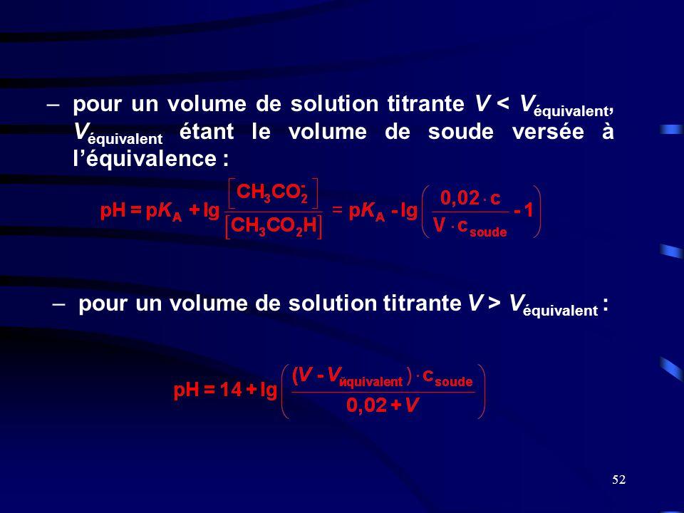 52 –pour un volume de solution titrante V < V équivalent, V équivalent étant le volume de soude versée à l'équivalence : –pour un volume de solution t