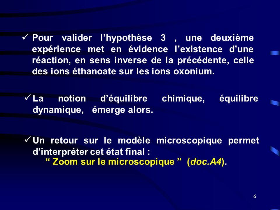 6  Pour valider l'hypothèse 3, une deuxième expérience met en évidence l'existence d'une réaction, en sens inverse de la précédente, celle des ions é