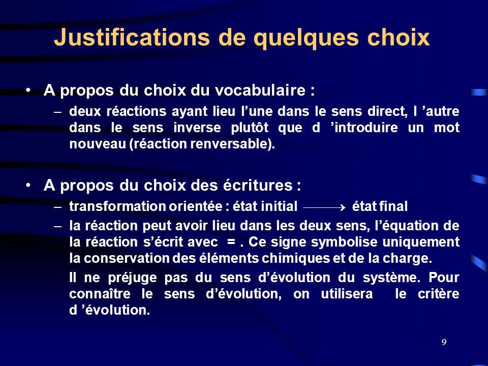 9 Justifications de quelques choix •A propos du choix du vocabulaire : –deux réactions ayant lieu l'une dans le sens direct, l 'autre dans le sens inv