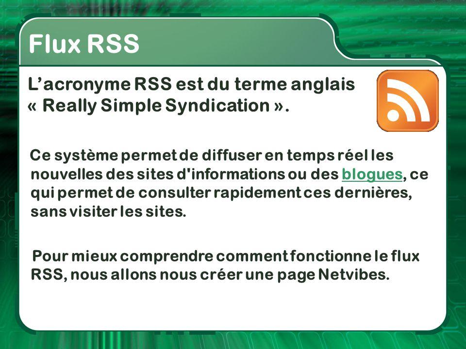 Flux RSS L'acronyme RSS est du terme anglais « Really Simple Syndication ». Ce système permet de diffuser en temps réel les nouvelles des sites d'info