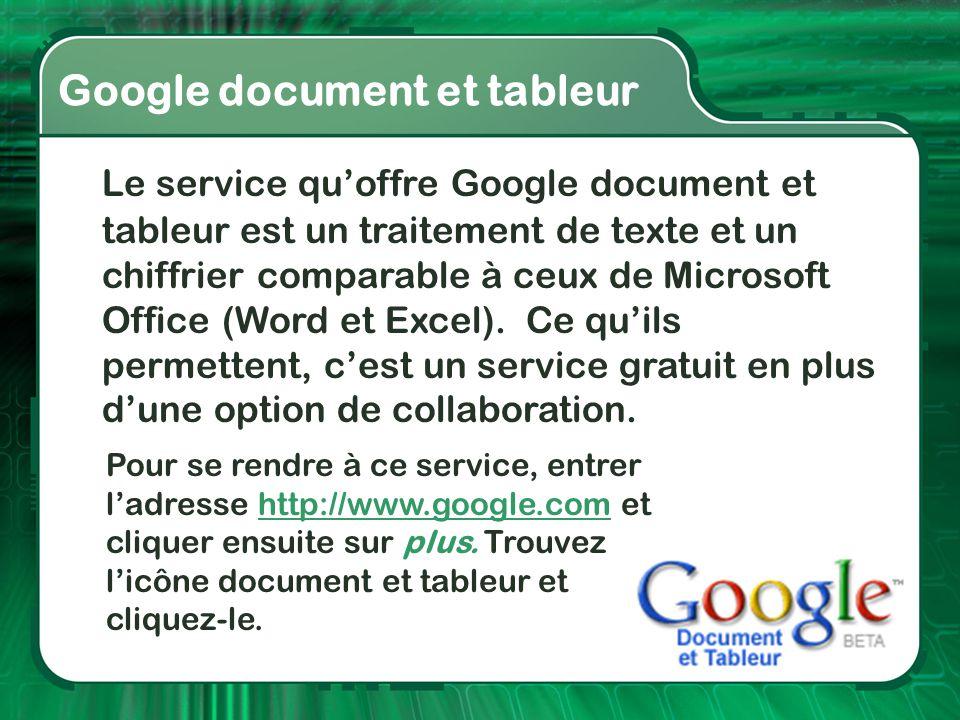 Google documents et tableurs Google document et tableur Le service qu'offre Google document et tableur est un traitement de texte et un chiffrier comp