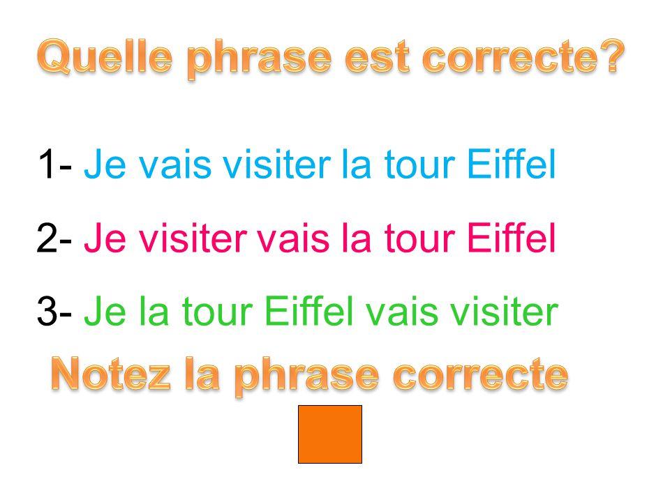 1- Je vais visiter la tour Eiffel 2- Je visiter vais la tour Eiffel 3- Je la tour Eiffel vais visiter 1