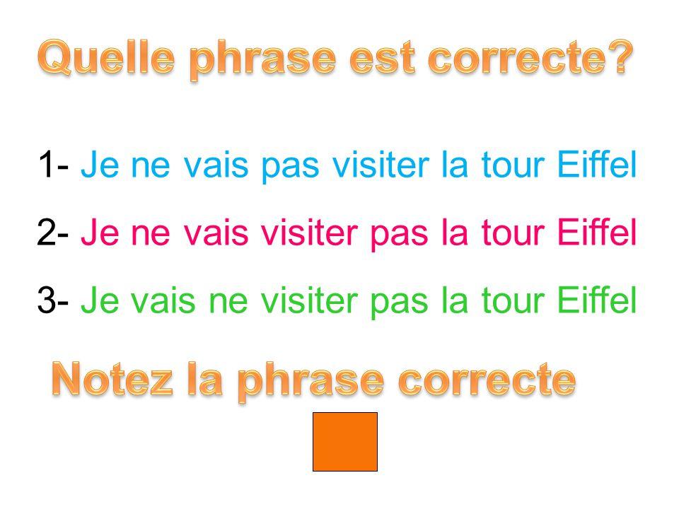 1- Je ne vais pas visiter la tour Eiffel 2- Je ne vais visiter pas la tour Eiffel 3- Je vais ne visiter pas la tour Eiffel 1