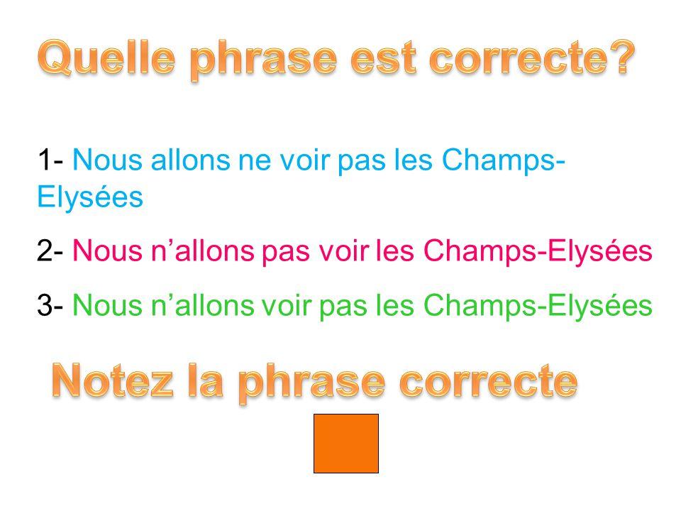 1- Nous allons ne voir pas les Champs- Elysées 2- Nous n'allons pas voir les Champs-Elysées 3- Nous n'allons voir pas les Champs-Elysées 2