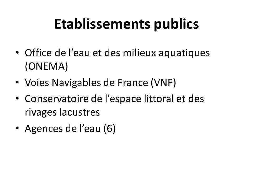 Etablissements publics • Office de l'eau et des milieux aquatiques (ONEMA) • Voies Navigables de France (VNF) • Conservatoire de l'espace littoral et