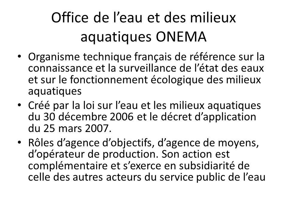 Office de l'eau et des milieux aquatiques ONEMA • Organisme technique français de référence sur la connaissance et la surveillance de l'état des eaux