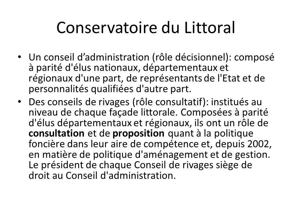 Conservatoire du Littoral • Un conseil d'administration (rôle décisionnel): composé à parité d'élus nationaux, départementaux et régionaux d'une part,