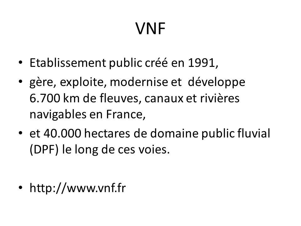 VNF • Etablissement public créé en 1991, • gère, exploite, modernise et développe 6.700 km de fleuves, canaux et rivières navigables en France, • et 4