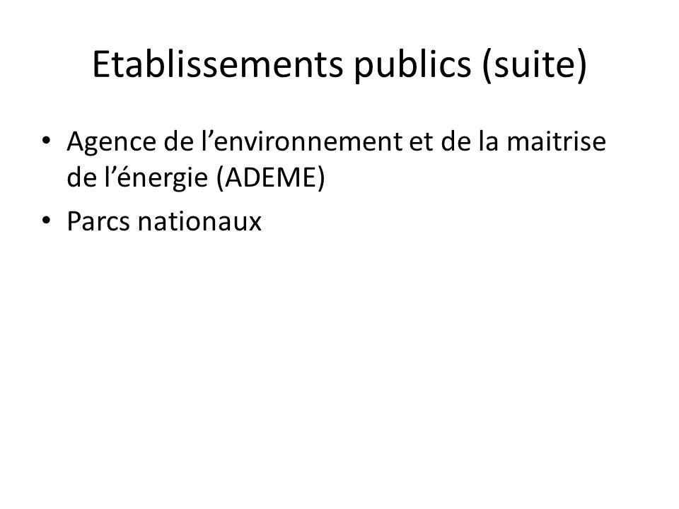 Etablissements publics (suite) • Agence de l'environnement et de la maitrise de l'énergie (ADEME) • Parcs nationaux